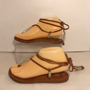 Anthropologie Beek Leather Sandals Tan Strappy 6